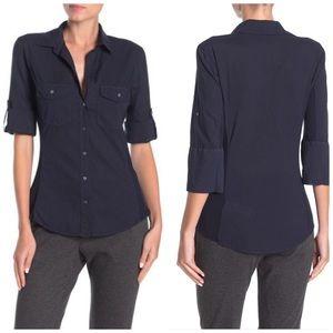 James Perse Black Contrast Ribbed Surplus Shirt L